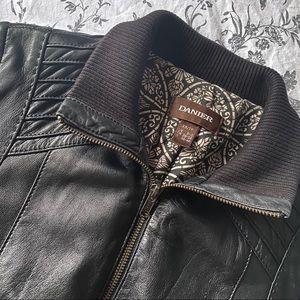 DANIER Genuine Leather Black Bomber Jacket Size XS